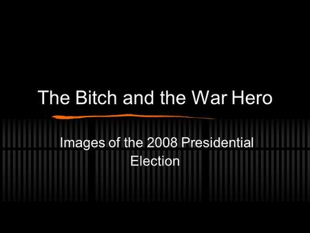 The Bitch and the War Hero Images of the 2008 Presidential Election.