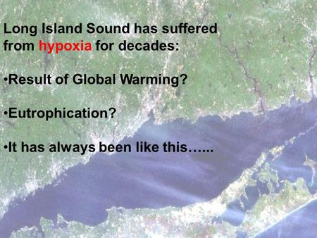 Long Island Sound has suffered from hypoxia for decades: Result of Global Warming? Eutrophication? It has always been like this…...