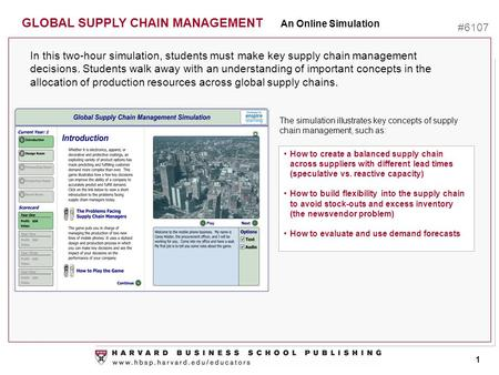 Ttt In this two-hour simulation, students must make key supply chain management decisions. Students walk away with an understanding of important concepts.