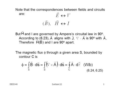 EEE340Lecture 221 Note that the correspondences between fields and circuits are: But and I are governed by Ampere's circuital law in 90 o. According to.