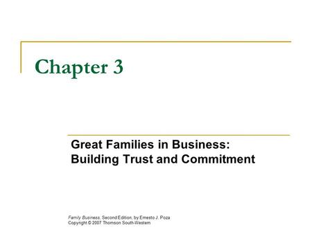 Great Families in Business: Building Trust and Commitment