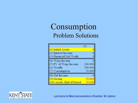 Lectures in Macroeconomics- Charles W. Upton Consumption Problem Solutions.