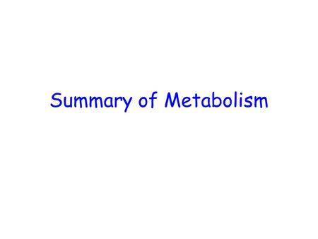 Summary of Metabolism. Basic Strategies of Catabolic Metabolism Generate ATP Generate reducing power Generate building blocks for biosynthesis.