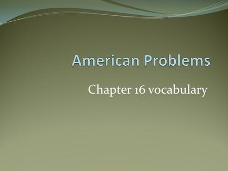 American Problems Chapter 16 vocabulary.