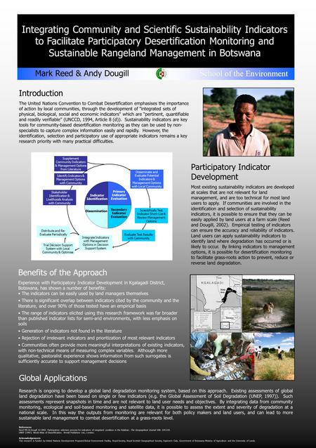Integrating Community and Scientific Sustainability Indicators to Facilitate Participatory Desertification Monitoring and Sustainable Rangeland Management.