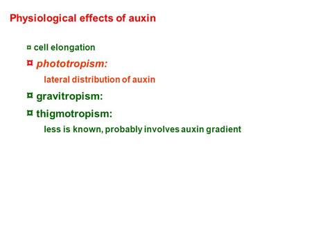Physiological effects of auxin ¤ cell elongation ¤ phototropism: lateral distribution of auxin ¤ gravitropism: ¤ thigmotropism: less is known, probably.