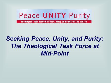 Seeking Peace, Unity, and Purity: The Theological Task Force at Mid-Point.