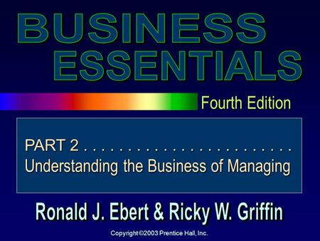 Fourth Edition Copyright ©2003 Prentice Hall, Inc. PART 2........................ Understanding the Business of Managing.