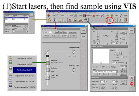 (1)Start lasers, then find sample using VIS. (2)Set configuration using LSM.