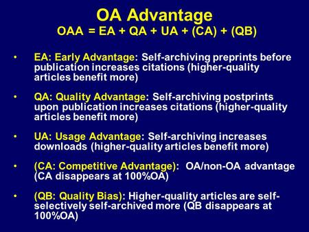 EA: Early Advantage: Self-archiving preprints before publication increases citations (higher-quality articles benefit more) QA: Quality Advantage: Self-archiving.