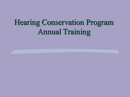 Hearing Conservation Program Annual Training. Objectives §Effects of Noise on Hearing §Audiometric Testing (Purpose & Procedures) §Hearing Protection.
