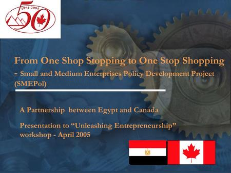 From One Shop Stopping to One Stop Shopping - Small and Medium Enterprises Policy Development Project (SMEPol) A Partnership between Egypt and Canada Presentation.