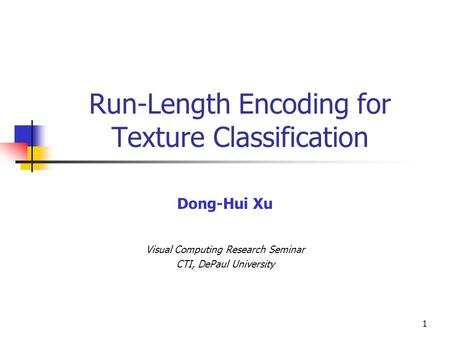 Run-Length Encoding for Texture Classification
