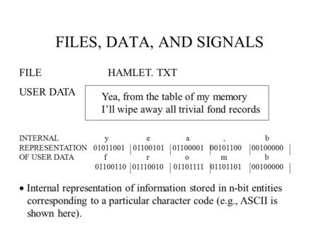 FILES, DATA, AND SIGNALS FILE HAMLET. TXT USER DATA