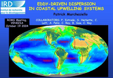 COLLABORATORS: P. Estrade, S. Herbette, C. Lett, A. Peliz, C. Roy, B. Sow, C. Roy EDDY-DRIVEN DISPERSION IN COASTAL UPWELLING SYSTEMS California Canary.