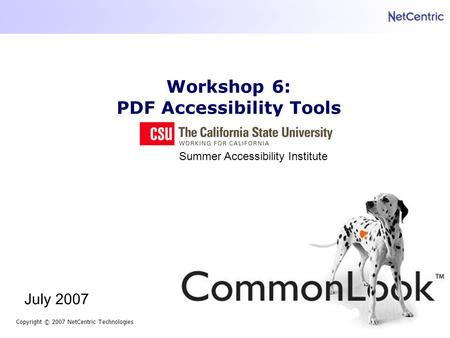Workshop 6: PDF Accessibility Tools Copyright © 2007 NetCentric Technologies July 2007 Summer Accessibility Institute.