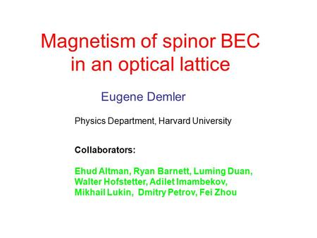 Magnetism of spinor BEC in an optical lattice