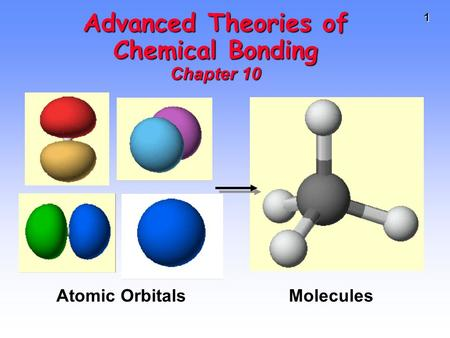 1 Advanced Theories of Chemical Bonding Chapter 10 Atomic Orbitals Molecules.