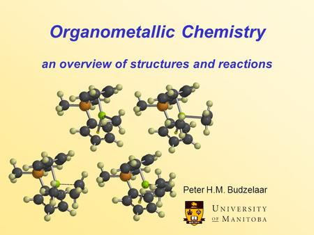 Organometallic Chemistry an overview of structures and reactions Peter H.M. Budzelaar.