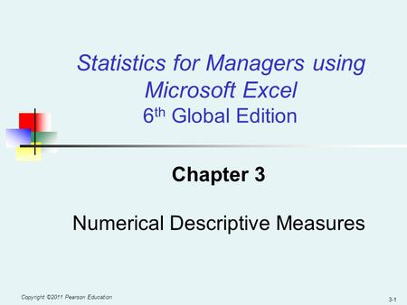 Statistics for Managers using Microsoft Excel 6th Global Edition