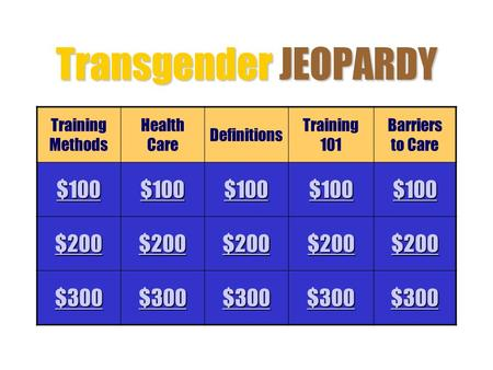 Transgender JEOPARDY Training Methods Health Care Definitions Training 101 Barriers to Care $100 $200 $300.