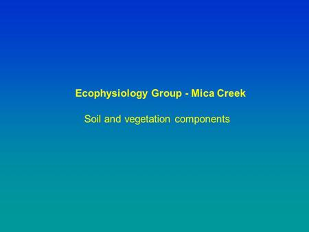 Soil and vegetation components Ecophysiology Group - Mica Creek.