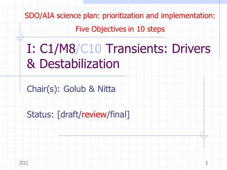 SDO/AIA science plan: prioritization and implementation: Five Objectives in 10 steps [C1]1 I: C1/M8/C10 Transients: Drivers & Destabilization Chair(s):