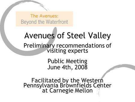 Avenues of Steel Valley Preliminary recommendations of visiting experts Public Meeting June 4th, 2008 Facilitated by the Western Pennsylvania Brownfields.