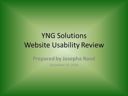 YNG Solutions Website Usability Review Prepared by Josepha Rood December 19, 2008.