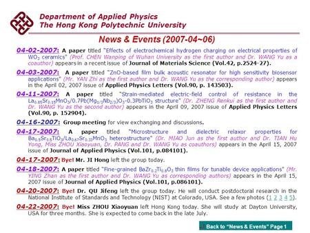 "Department of Applied Physics The Hong Kong Polytechnic University News & Events (2007-04~06) 04-02-2007: A paper titled ""Effects of electrochemical hydrogen."