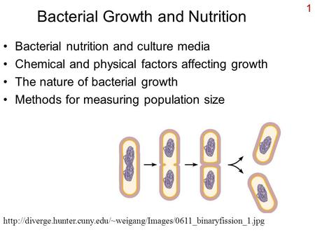 1 Bacterial Growth and Nutrition Bacterial nutrition and culture media Chemical and physical factors affecting growth The nature of bacterial growth Methods.