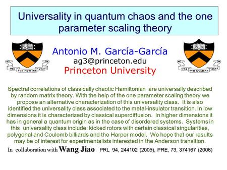 Universality in quantum chaos and the one parameter scaling theory