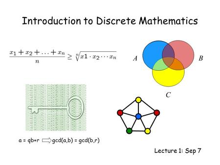 Introduction to Discrete Mathematics Lecture 1: Sep 7 AB C a = qb+r gcd(a,b) = gcd(b,r)