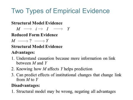 26-1 Two Types of Empirical Evidence Structural Model Evidence M i I Y Reduced Form Evidence M ? Y Structural Model Evidence Advantages: 1.Understand causation.