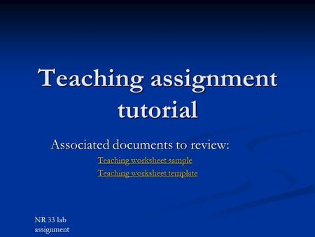 Teaching assignment tutorial