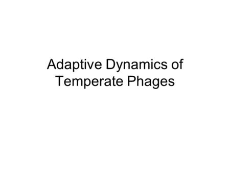 Adaptive Dynamics of Temperate Phages. Introduction Phages are viruses which infect bacteria A temperate phage can either replicate lytically or lysogenically.