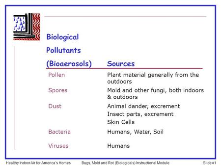 PollenPlant material generally from the outdoors SporesMold and other fungi, both indoors & outdoors DustAnimal dander, excrement Insect parts, excrement.