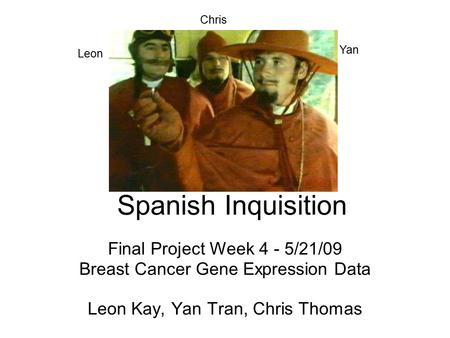 Spanish Inquisition Final Project Week 4 - 5/21/09 Breast Cancer Gene Expression Data Leon Kay, Yan Tran, Chris Thomas Chris Yan Leon.