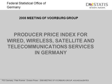 Federal Statistical Office of Germany FSO Germany - Peter Roemer - Division Prices – 2008 MEETING OF VOORBURG GROUP, AGUASCALIENTES PRODUCER PRICE INDEX.