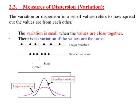 2.3. Measures of Dispersion (Variation):