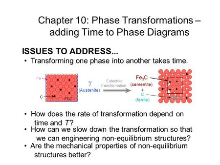 ISSUES TO ADDRESS... Transforming one phase into another takes time. How does the rate of transformation depend on time and T ? How can we slow down the.