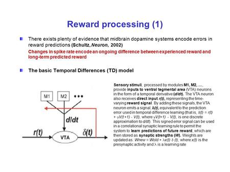 Reward processing (1) There exists plenty of evidence that midbrain dopamine systems encode errors in reward predictions (Schultz, Neuron, 2002) Changes.