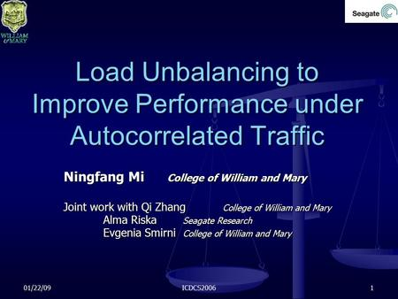 01/22/09ICDCS20061 Load Unbalancing to Improve Performance under Autocorrelated Traffic Ningfang Mi College of William and Mary Joint work with Qi Zhang.