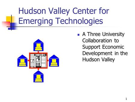 1 Hudson Valley Center for Emerging Technologies A Three University Collaboration to Support Economic Development in the Hudson Valley.