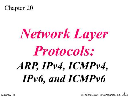 McGraw-Hill©The McGraw-Hill Companies, Inc., 2004 1 Chapter 20 Network Layer Protocols: ARP, IPv4, ICMPv4, IPv6, and ICMPv6.