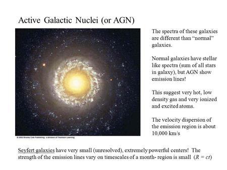 Active Galactic Nuclei (or AGN) Seyfert galaxies have very small (unresolved), extremely powerful centers! The strength of the emission lines vary on timescales.
