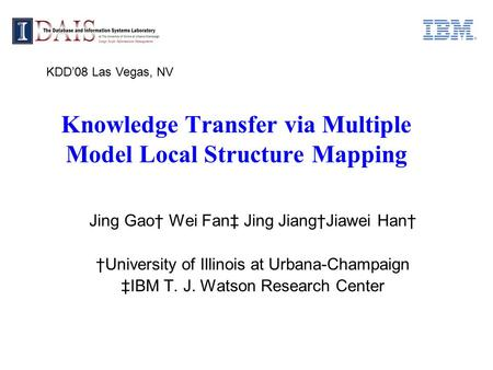 Knowledge Transfer via Multiple Model Local Structure Mapping Jing Gao† Wei Fan‡ Jing Jiang†Jiawei Han† †University of Illinois at Urbana-Champaign ‡IBM.