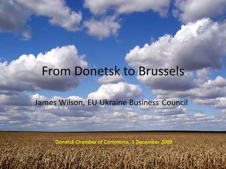 From Donetsk to Brussels James Wilson, EU Ukraine Business Council Donetsk Chamber of Commerce, 3 December 2009.