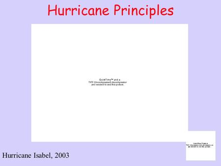 Hurricane Principles Hurricane Isabel, 2003. Outline Definitions Formation and Conditions Needed Growth and Structure of a Hurricane Where do They Form?