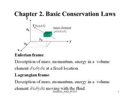 Reinisch_ASD_85.5151 Chapter 2. Basic Conservation Laws x0x0 y0y0 z0z0 z y x U(x,y,z,t) mass element.